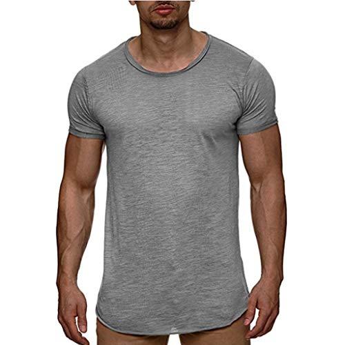 ZZBO Tshirt Herren T Shirt Herren Value Kurzarmshirt Oberteil Basic Tee O-Neck Kurzarm Solide Basic T-Shirt Herren Casual Sommer Top Rundhals T-Shirts Freizeit Bequem Slim Fit M-3XL