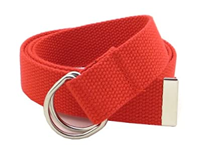 """Thin Web Belt Double D-Ring Buckle 1.25"""" Wide with Metal Tip Solid Color (M-Red)"""