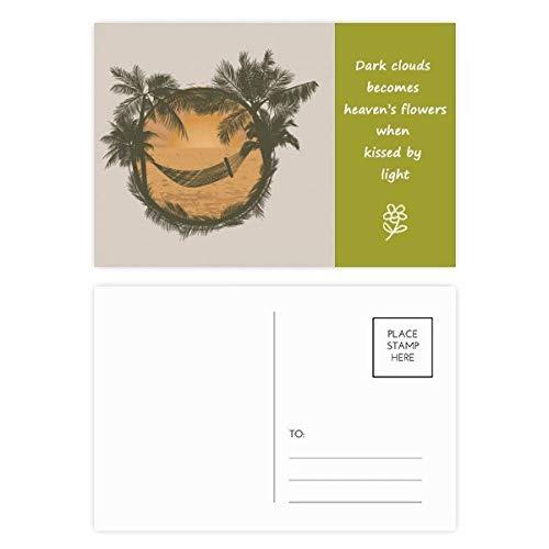 Nologo Hängematte Kokosnuss-Baum Wolke Hammock Beach Poetry Postkartenset dankt Karte Mailing Side 20pcs Camping hängematte