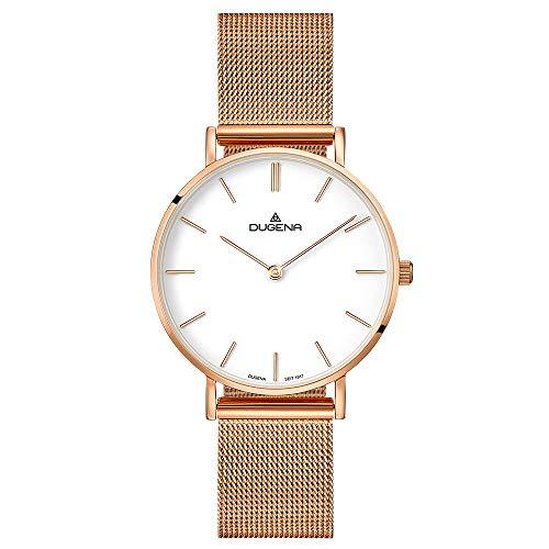 Dugena Damen Quarz-Armbanduhr, Saphirglas, Milanaise-Armband, Linée, Rosé, 4460838