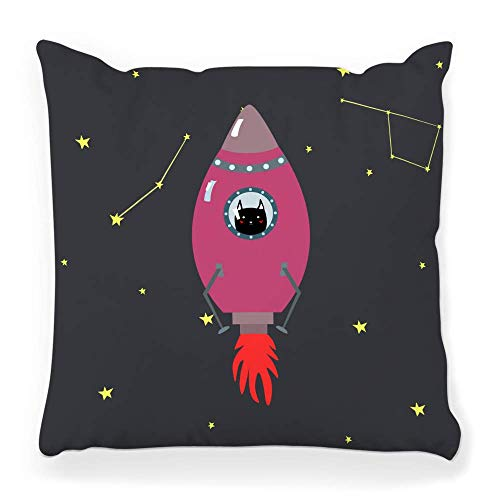 LXJ-CQ Throw Pillow Cover 18x18 Pink Space Ship Cute Cat Doodle Style Constellation Adventure Aircraft Alien Astronomy Cartoon Comet Pillowcase