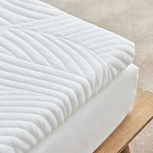 Sweetnight Topper 140x200cm Orthopädischer Matratzen Topper 5cm gelschaum Mit Bezug Atmungsaktive Weiß Matratzentopper