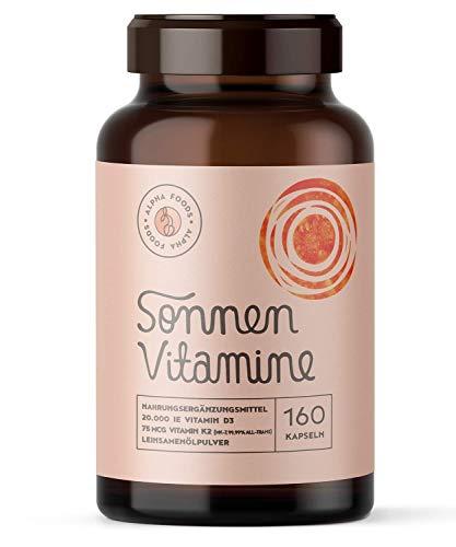 20.000 Vitamin D3, K2 (vitaMK-7®, 99,99% All-Trans) und pflanzliche Omega 3 Fettsäuren aus Leinsamen und Algen - SONNENVITAMINE - Ohne Zusatzstoffe, ohne Hilfsstoffe - 160 Depot-Kapseln