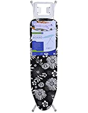 Royalford 134 x 33 cm Ironing Board with Steam Iron Rest, Heat Resistant, Contemporary Lightweight Iron Board with Adjustable Height and Lock System (Blue & White)