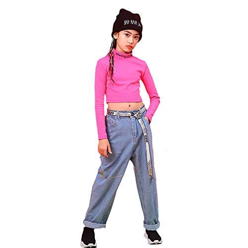Mädchen Hip Hop Kleidung Street Dance Outfit, verkürztes T-Shirt, Jeans mit weitem Bein (Rosa, 152 (10-11 Jahre))