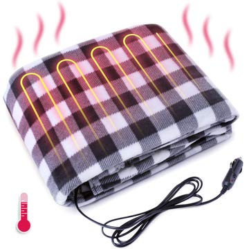 VaygWay 12V Electric Heated Blanket – Car Travel Fleece Electric Blanket – Black and White Plaid Warm Blanket - Car Travel Camping Emergencies Universal