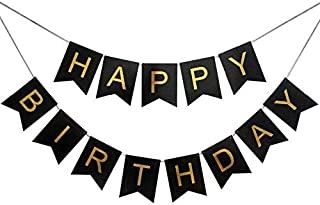 Sri SS Retail Black Gold Happy Birthday Banner Decoration for Kids Celebrations, Bunting Tags, Flag Decorative Items