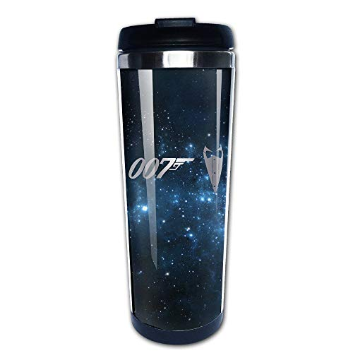 Qurbet Tazza da Viaggio da caffè, Stainless Steel James Bond 007 Logo Platinum Style Tumbler Coffee Mug by