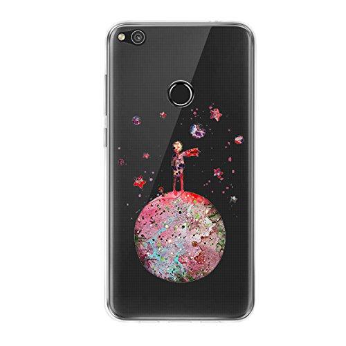 Caler Funda Huawei P8 Lite 2017 Case, Suave TPU Gel Silicona Ultra-Delgado Ligera Anti-rasguños Protección Cuentos de Hadas Carcasa para Huawei (Pequeño Príncipe Principito)