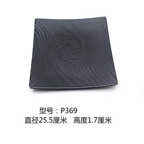 Plaque en plastique Noir Sushi Buffet barbecue carré givré Art Vaisselle, P369