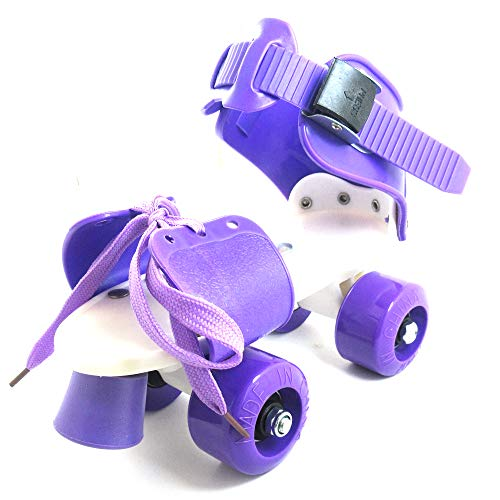 Metal Dragon 77th Purple Speed Quad Roller Skates Adjustable Directly Connected with The Shoes for Kids Beginner Outdoor Recreation