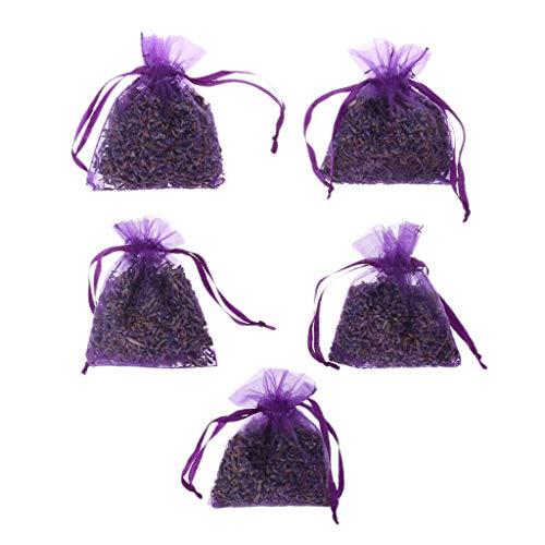 ECMQS 5pcs, Vraie Lavande, Fleurs Séchées Biologiques, Sac De Bourgeons De Sachets, Fragrance, Air Plus Frais, Voiture, Décoration De Maison (Violet Foncé)