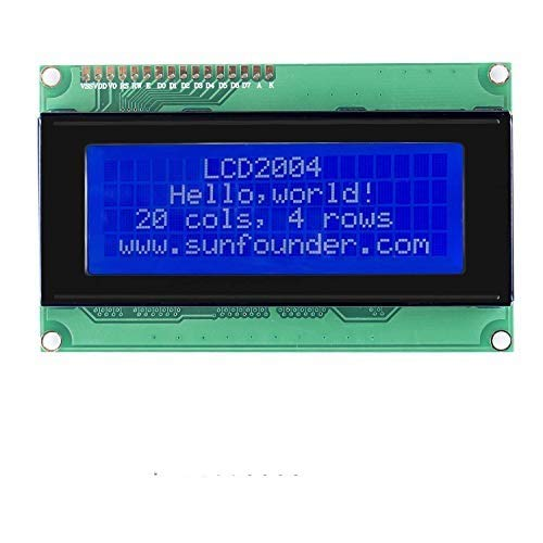 SunFounder LCD2004 Module with 3.3V Backlight for Arduino R3 Mega2560 Raspberry Pi Display of 20x4 White Characters on Blue Background.
