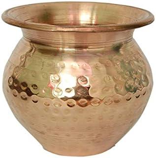 PARIJAT HANDICRAFT Copper Kalash, Handmade Indian Copper Kalash, Kalash Lota for Festival Puja (Hammered)
