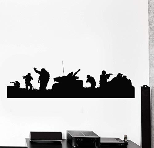 ASFGA Vinyl Wandtattoo Soldaten Panzerkrieg Videospiel Gamer Patriot Aufkleber Spielhalle Home Wohnzimmer Schlafzimmer Dekor 42 * 144cm