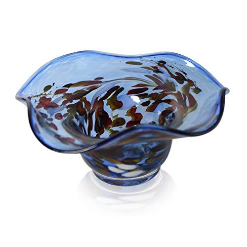 Coupelle bougeoir ou granules bleu aqua diamètre 20 cm-hauteur : 8 cm en verre soufflée à lauschaer la bouche handgeformt l'original