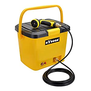 OYOOQO 5 Gallons Portable Outdoor Camping Shower, Electric Pressure Shower and Rinse Kits for Surfing,Diving,Fishing,Road Trip,Caravan Trip,Pet Shower,12V Car Wash Outdoor Shower