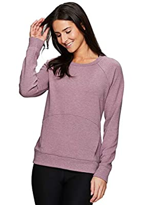RBX Active Women's Fashion Long Sleeve Crewneck Sweater Lightweight Pullover Sweatshirt with Pocket Dark Pink XL