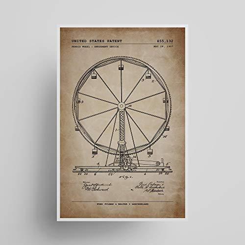 Ferris Wheel Patent; Patent Poster, Unframed, Wall Art, Amusement Park Decor, Gifts Under $15