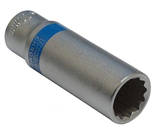 Aerzetix: Steckschlüssel Einsatz Nuss 12 kant 1/4 11mm tief lange professionelle hochwertige erweitert Stahl CrV Tiefe: 20 mm