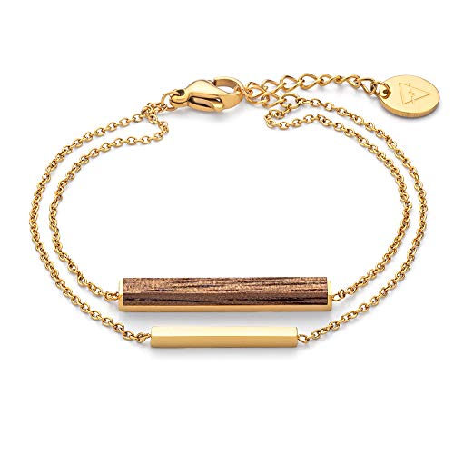 KERBHOLZ Holzschmuck – Geometrics Collection Rectangle Bracelet, filigranes Frauen Armband in gold mit Stab Anhänger aus Naturholz, größenverstellbar (Armbandlänge 15 + 2,5 cm)