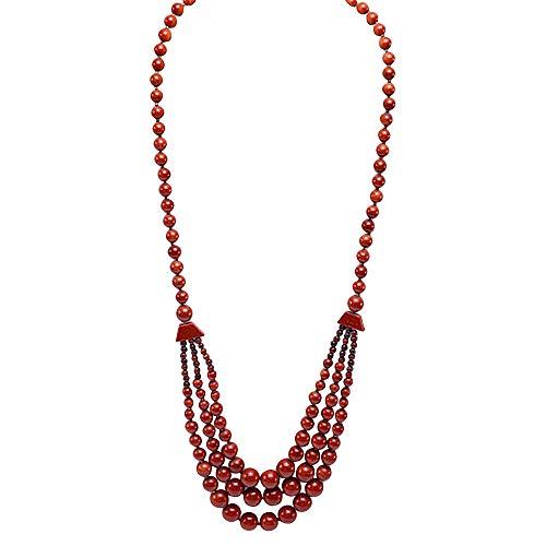 JYX Handmade Multi Size Round Goldstone Necklace Gemstone Beads Necklace for Men Women 28'