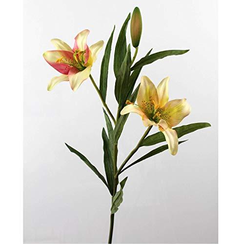 artplants.de Künstliche Prachtlilie, 2 Blüten, Creme - rosa, 88cm, Ø 15cm - Kunstblume
