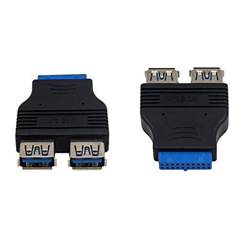Duttek USB 3.0 Motherboard Adapter,USB 3.0 Header to USB 3.0 Port Adapter, 20 Pin USB 3.0 Header Female to Dual USB 3.0 Female Splitter Motherboard Adapter for PC Motherboard Mainboard