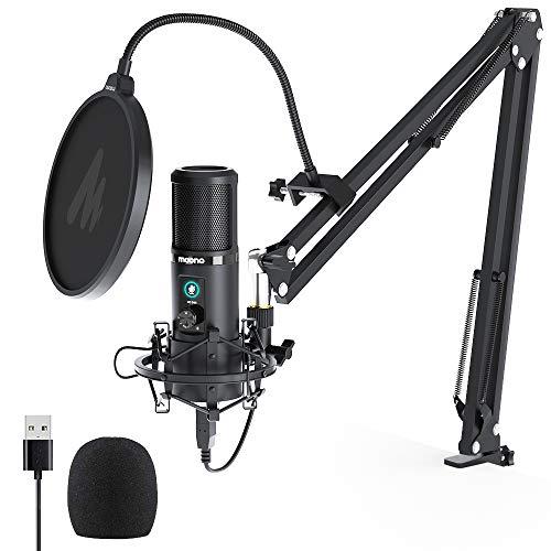 USB Mikrofon mit One Touch Stummschaltung MAONO AU-PM421 Professioneller Nieren Kondensator Podcast Mikrofon 192 kHz/24 Bit und Mikrofonverstärkungsknopf für Rundfunk,Aufnahme,Spiele,YouTube