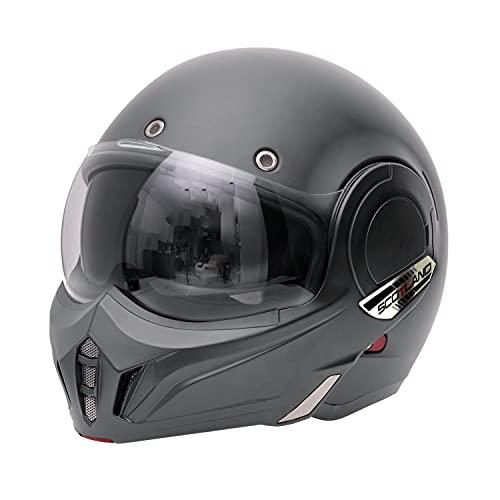 Scotland Motorcycle Dept 120023 Casco modulare con mentoniera ribaltabile, titanio opaco, S