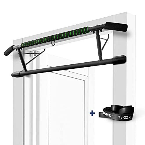 NOURIX® - Klimmzugstange Türrahmen - ohne Schrauben - pull up bar - im Set mit Widerstandsband - Premium Qualität - Türreck für Sport zu Hause