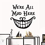 Decoración De Halloween Pegatinas De Pared Calcomanías Todos Estamos Locos Aquí Citas De Vinilo Funny Smile Face Big Mouth Decor Poster Festival Decoration