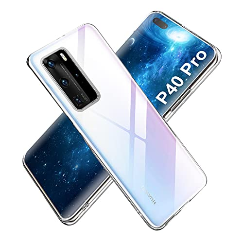 Whew Hülle Kompatibel mit Huawei P40 PRO, [Anti-Gelb] [Anti-Kratzer][Anti-Fingerabdruck] Clear TPU Hülle Silikon Weich Schutzhülle, Stoßfest Handyhülle für Huawei P40 PRO-Transparent