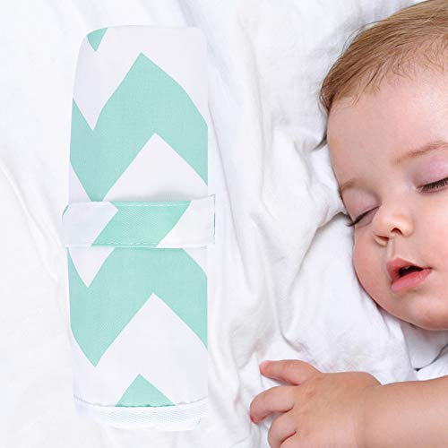 Cojín de orina infantil, cojín de cama, cojín cambiador reutilizable para viajes de bebé para niños(Wave green)
