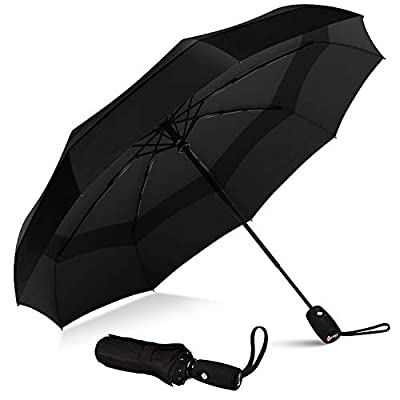 Repel Windproof Double Vented Travel Umbrella with Teflon Coating (Black)