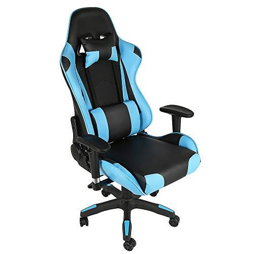MUPAI Sedia Gaming Gioco Sedie da Ufficio Girevole Ergonomica Poggiapiedi Retrattile Poltrona di PU 60 * 54 * (130-138) cm (Nero + Blu)
