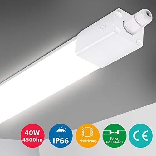 Oeegoo Feuchtraumleuchte LED 120cm, 40W 4500LM Deckenleuchte, IP66 Wasserdicht Led Röhre Reihenschaltung (Max 6 St.) LED Leuchte Werkstattlampe Garagenlampe Kellerleuchte Neutralweiß 4000K