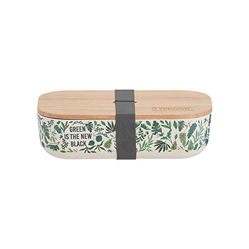 Typhoon Pure Green New Black Bamboo Lunchbox, Faser, H 5,8 x B 20 x T 10,8 cm