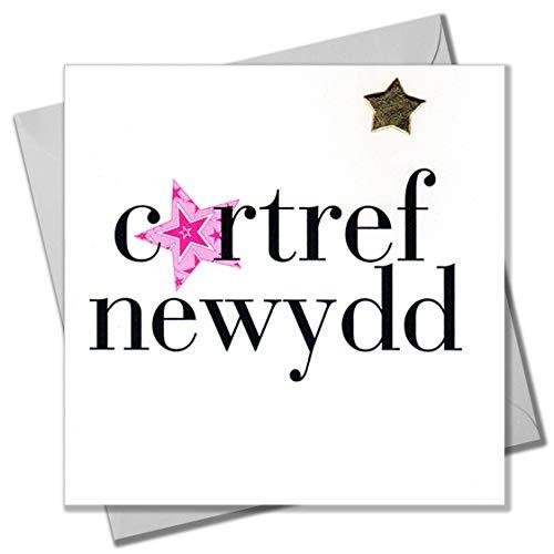 Claire Giles Hearts and Stars Welsh cartref Newydd kaart van Welkom kleur RAM belettering New Home