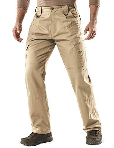 CQR Men's Tactical Pants, Water Repellent Ripstop Cargo Pants, Lightweight EDC Hiking Work Pants, Outdoor Apparel, Duratex(tlp106) - Khaki, 34W x 32L