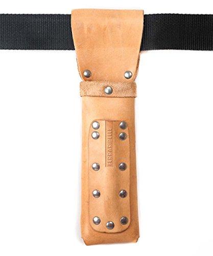 Porte en bois Metro - cuir véritable, couleur naturelle, rivets Chrome, ceinture inclus