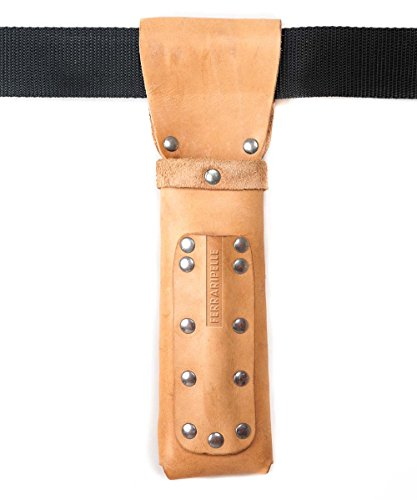Metro puerta de madera - Cuero real, color natural, remaches Chrome, Cinturón...