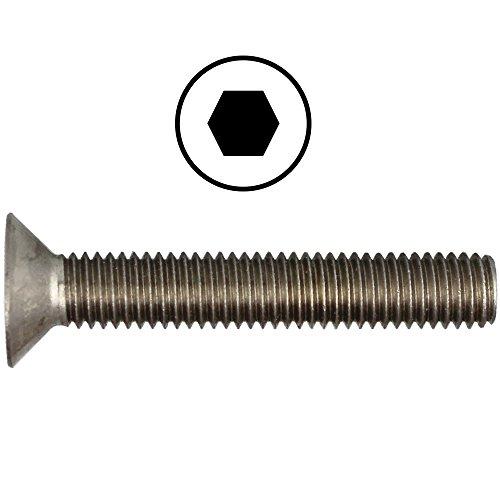 Senkkopfschrauben M10 X 50 DIN 7991 mit Innensechskant (ISK) Edelstahl A2 (20 Stück) - V2A Senkschrauben mit Vollgewinde