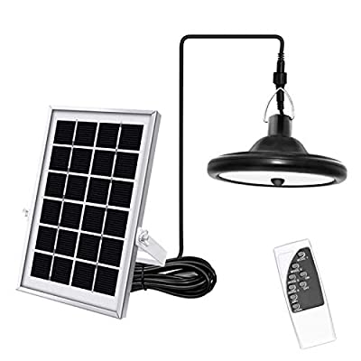 Upgraded Solar Pendant Light Motion Sensor JACKYLED Outdoor LED Hanging Solar Shed Light with Remote Control 16.4Ft Cord Adjustable Solar Panel for Garden Home Chicken Coop, Cool White