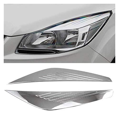 zhuzhu Coche ABROM Chrome Frontal Fuera FUTARIO Cubierta Cabeza LÁMPARA Light LÁMPARA DE EJEADOR DE EYELIDO Ajuste para Ford ESCAPA KUGA 2017-2018 (Color : Silver)