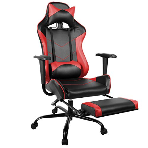 Gaming Chair PU Leather Racing Chair with Footrest, High Back Recliner Swivel Office Chair Headrest Lumbar Support Desk Chair, Ergonomic Executive Task Computer Chairs (Red)