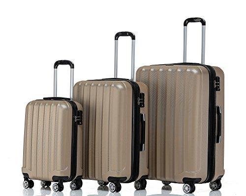 Beibye TSA–Candado 2080ruedas Gemelas 3maletas rígidas, champán (Beige) - 2080