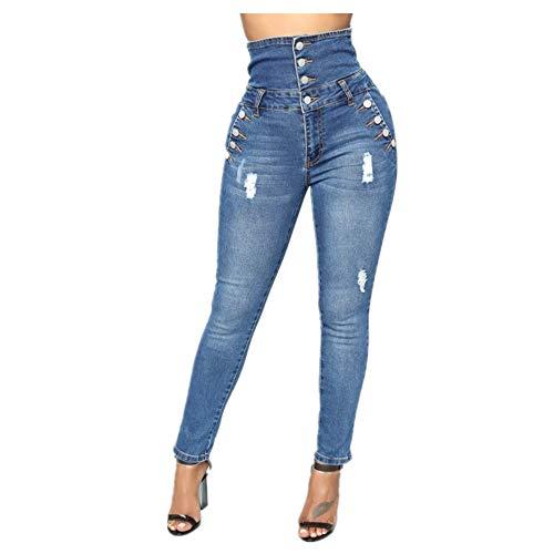 N\P Pantalones vaqueros de cintura alta multi botón alto elástico Leggings