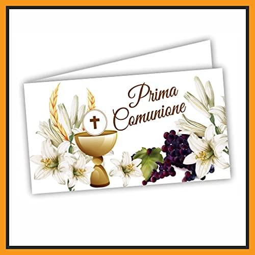 Bigliettini Bomboniera Prima Comunione - bigliettini per fazzoletti per confetti e sacchetti confetti 60 pezzi pretagliati - CON LINK PER LA STAMPA DA CASA