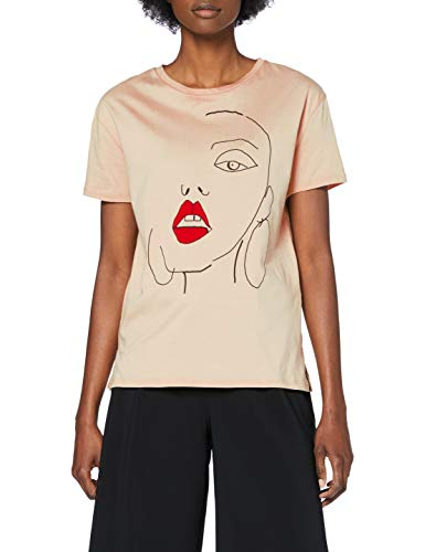 Marca Amazon - find. Face Print Camiseta Mujer, Beige, 36, Label: XS